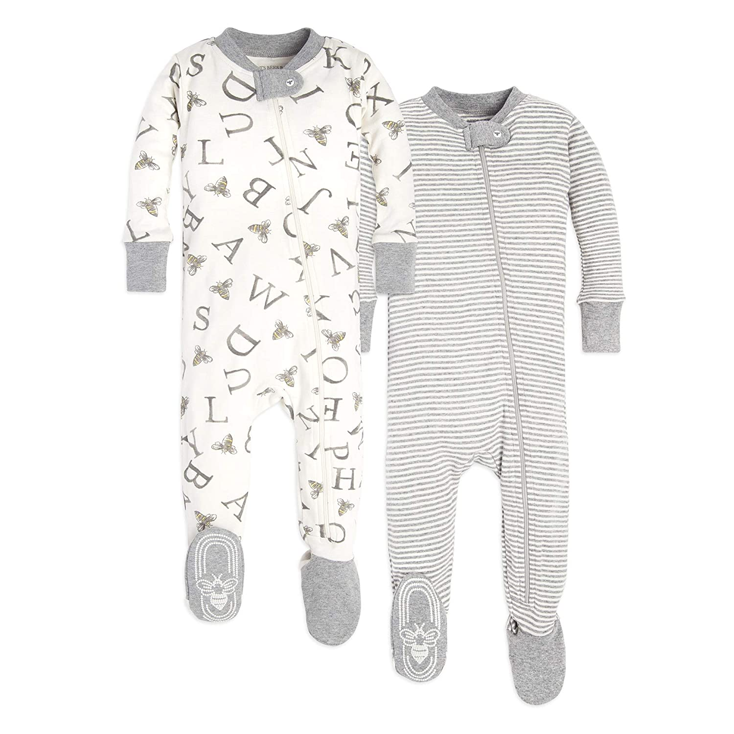 Burt's Bees Baby Unisex Pajamas, Set of 2, Zip Front Non-Slip Footed Sleeper PJs, 100% Organic Cotton Burt' s Bees Baby LY25452
