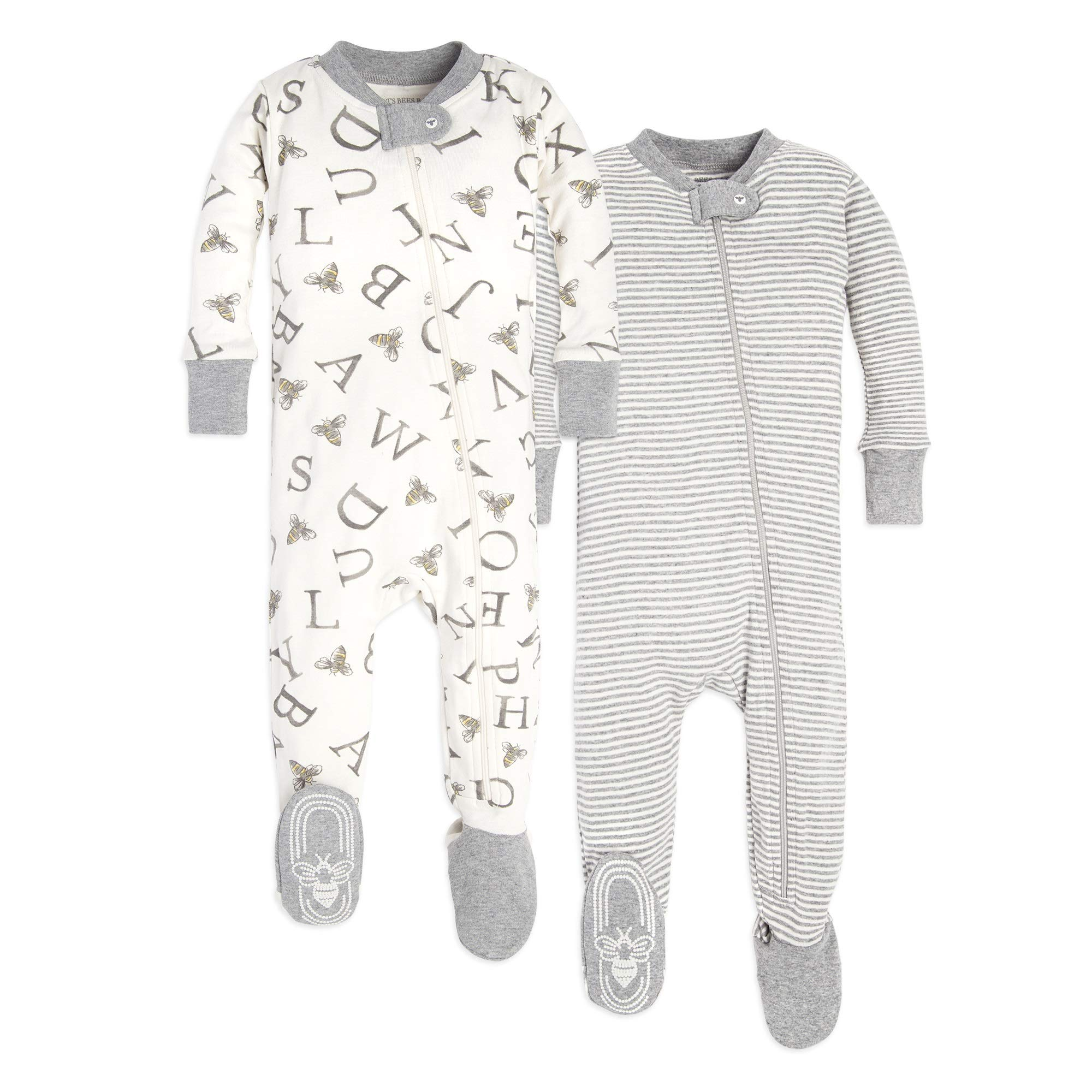 Burt's Bees Baby Unisex Pajamas, A-Bee-C/Stripes 2-Pack, 24 Months