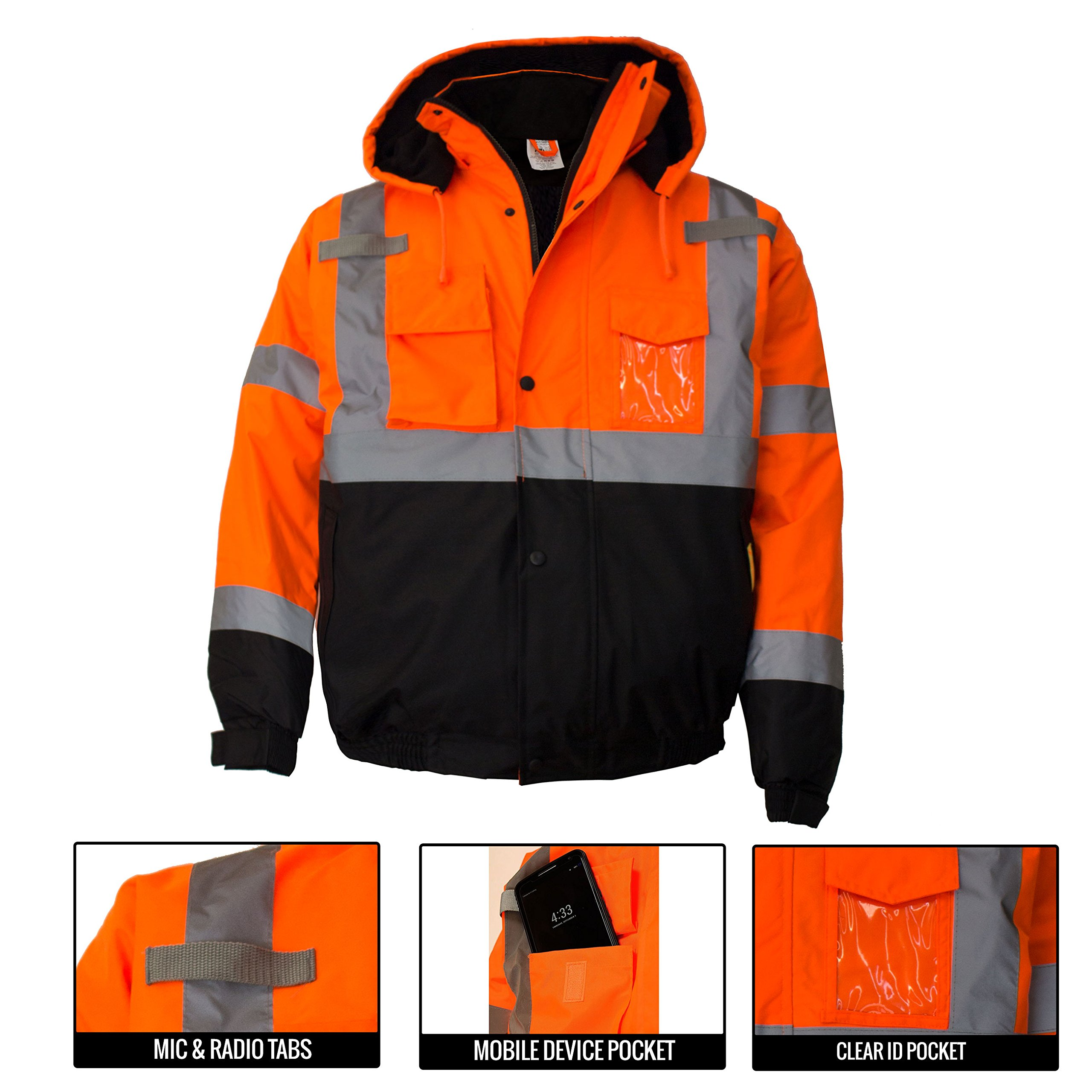 New York Hi-Viz Workwear WJ9011-L Men's ANSI Class 3 High Visibility Bomber Safety Jacket, Waterproof (Large, Orange) by New York Hi-Viz Workwear (Image #6)