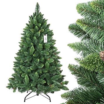 FairyTrees Árbol de Navidad artificial PINO, natural verde, Material PVC, las piñas verdaderas, el soporte en metal, 150cm, FT03-150: Amazon.es: Hogar