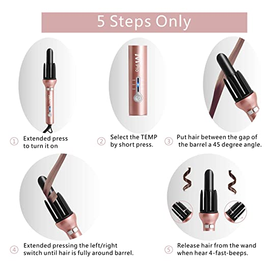 Amazon.com: Hair Curling Wands Automatic Hair Curlers Tourmaline Ceramic Instant Heat Hair Curling Iron Wavy Hair Curler: Beauty
