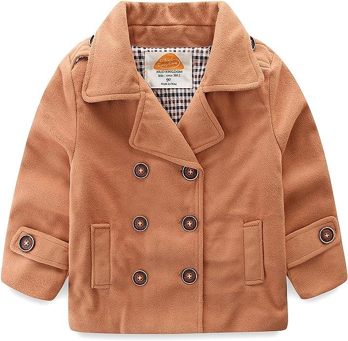 4bcb3ebfd Amazon.com  Mud Kingdom Baby Boy Bomber Jacket Plain Faux Wool Coat ...