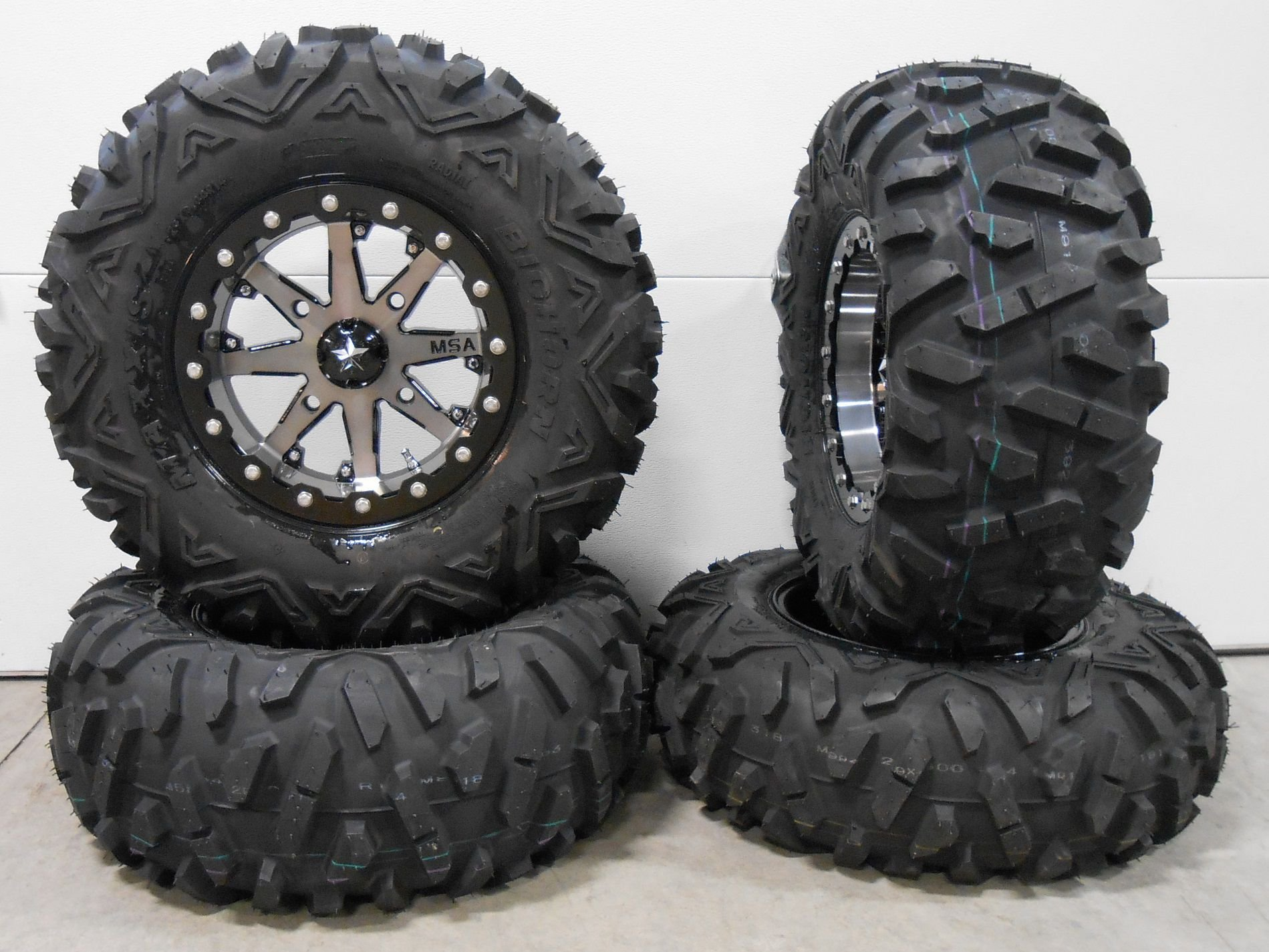 Bundle - 9 Items: MSA Lok 14'' ATV Wheels 29'' BigHorn Tires [4x110 Bolt Pattern 10mmx1.25 Lug Kit]
