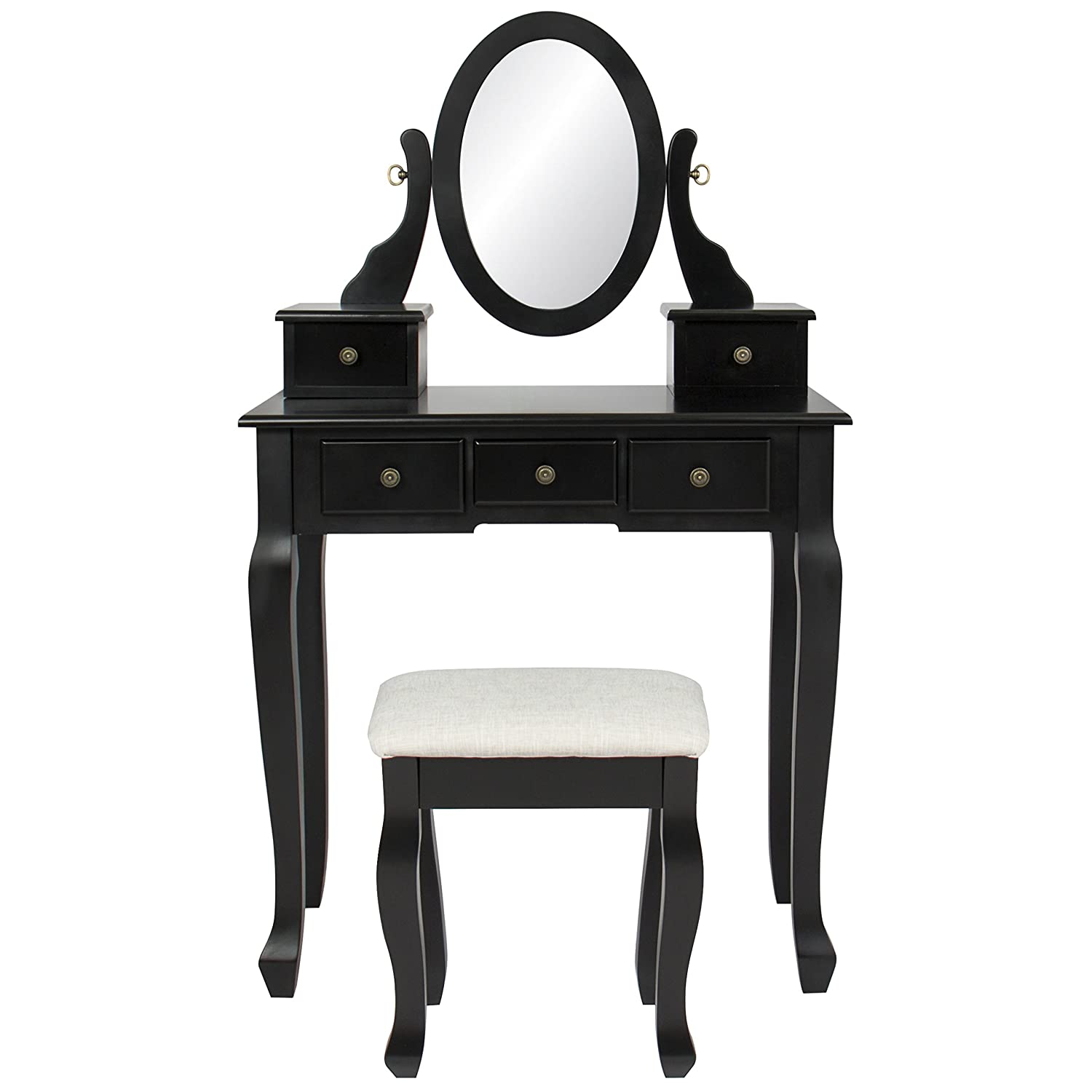 Amazon.com: Best Choice Products Bedroom Makeup Cosmetic Beauty Vanity Hair Dressing  Table Set W/Adjustable Oval Mirror, Padded Stool Seat, 5 Drawer Storage ...