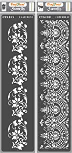 CrafTreat Flourish Border Stencils for Painting on Wood, Canvas, Paper, Fabric, Floor, Wall and Tile - Border3 and Border4-2 Pcs - 3x12 Inches Each - Reusable DIY Art and Craft Stencils