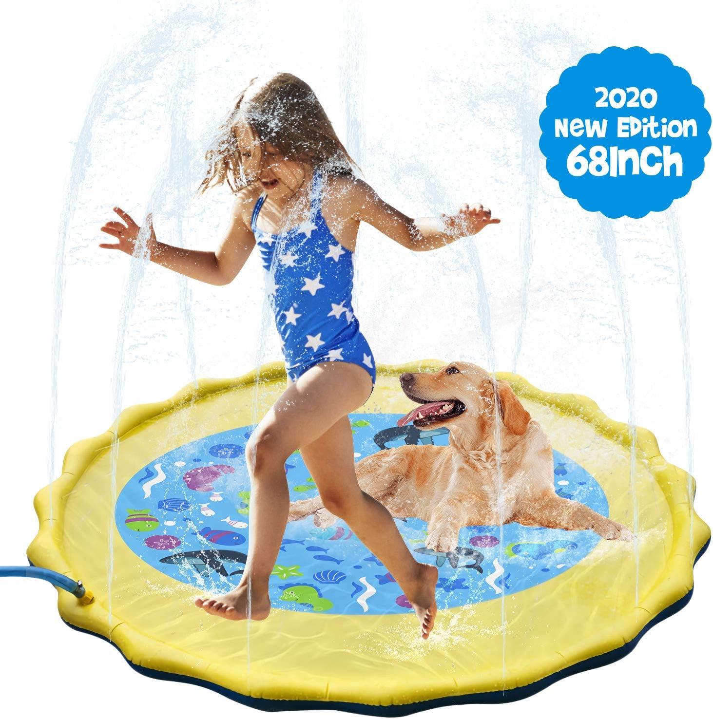 Cuscino da Spiaggia Gonfiabile Blu da 60 Pollici Giochi da Giardino con Spray da Giardino per Bambini e Animali Domestici DY/_Jin Tappetino da Gioco con Spruzzi e Spruzzi dAcqua