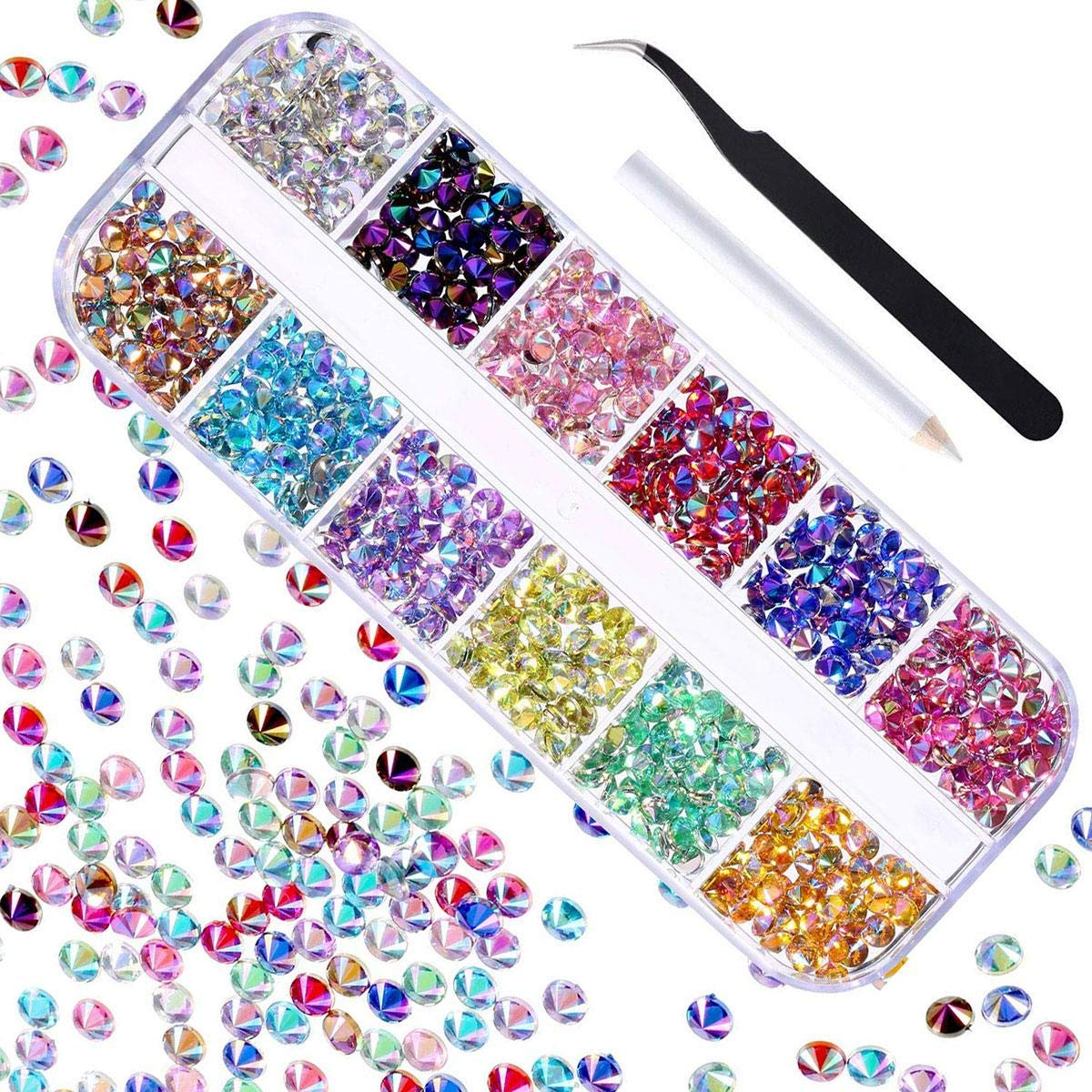 Pawaca 2404Pcs 12 Colors Kit Nail Rhinestones with 1 Pick up Tweezers, Multicolor Nail Gems Decorations Supplies with Storage Box, Crystals for Crafts, Nail Art DIY