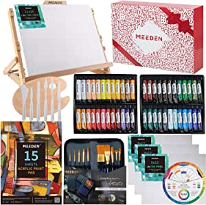 MEEDEN 72-Piece Acrylic Painting Set with Beech Wood Table Easel, 48×22ML Acrylic Paint Set and All The Additional Supplies, Perfect for Beginning Artists, Students and Kids
