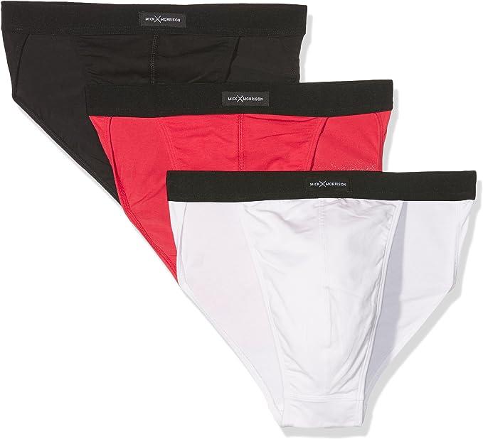 Mick Morrison Slip Hombre, Pack de 3, Multicolor (schwarz rot weiß ...
