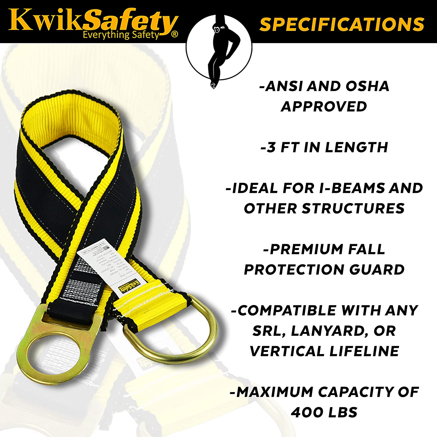 Charlotte, NC GIBBON GRIP 3 ft 6 PACK Safety Anchor Cross Arm Strap Beam Choker ANSI Fall Arrest System Web pass thru Double D Ring Anchorage Sling OSHA Protection Harness Lanyard KwikSafety