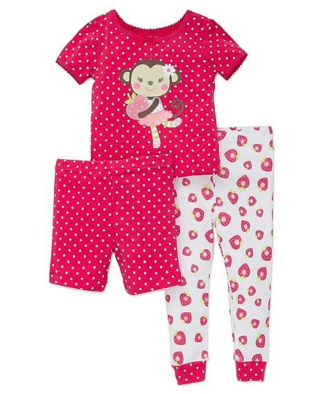 be4c747e4aff Little Me Toddler Girls  3 Piece Short Sleeve Cotton Pajama Set