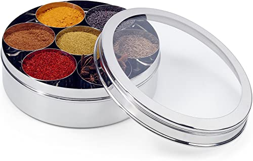 Zinel Stainless Steel Spice Box Masala Dabba with 7 Comparments and Transparent Lid, 18cm, Silver