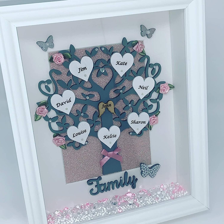 Gift 3D Box Frame,Birthday,Wedding,Anniversary PERSONALISED FAMILY TREE