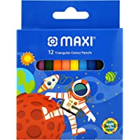 Maxi TRIANGULAR COLOUR PENCILS 12 COLOUR HALF SIZE IN A CARDBOARD BOX, CP12H