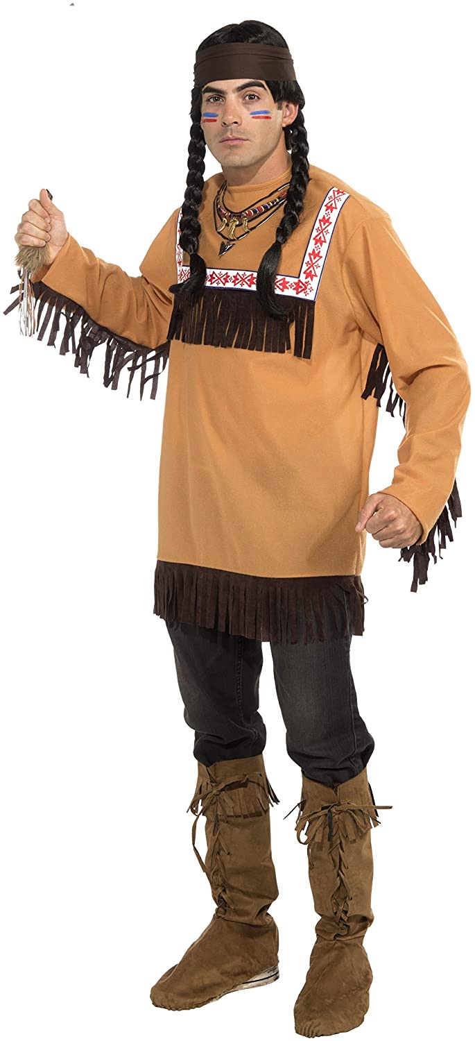 Amazon.com: Forum Novelties Mens Native American Brave Costume, Brown, Standard: Toys & Games