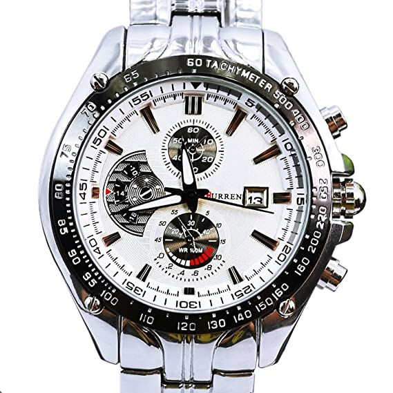 ShoppeWatch Relojes de Hombres Mens Bracelet Watch Metal Band Silver Tone Large Face CR8083SLWH