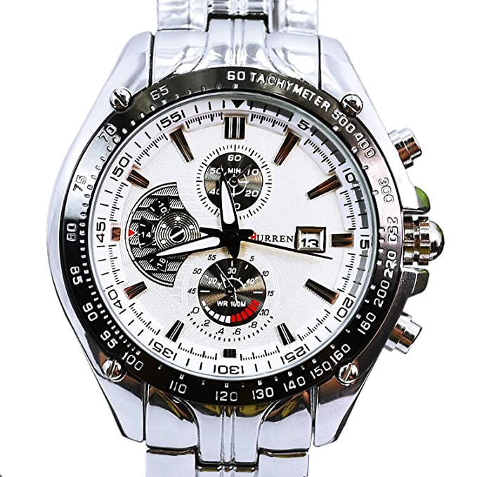 Amazon.com: ShoppeWatch Relojes de Hombres Mens Bracelet Watch Metal Band Silver Tone Large Face CR8083SLWH: Watches