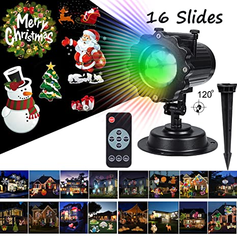 Christmas Led Projector Lights 16 Pattern Slideshows Long Range 40ft Projection Distance Holiday
