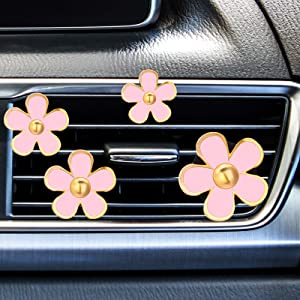 8 Pieces Daisy Flowers Air Vent Clips Car Freshener Clip Air Vent Decorative Clip for Car Air Vent Decorations Accessories( Pink)