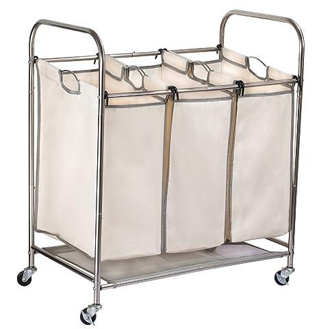Triple clasificador de lavandería sobre ruedas – Durable metal marco, con ruedas y tres bolsas