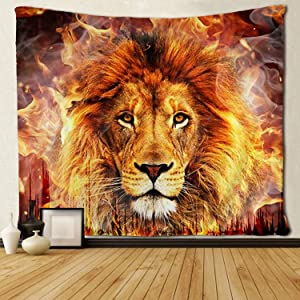SARA NELL Cool Fire Lion Flame Tapestry Art Wall Hippie Art Lion Tapestries Wall Hanging Throw Tablecloth 50X60 Inches for Bedroom Living Room Dorm Room