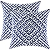 TreeWool, (Pack of 2) Kaleidoscope Accent Throw Pillow Covers in Cotton Canvas (18 x 18 Inches; Navy Blue & White)