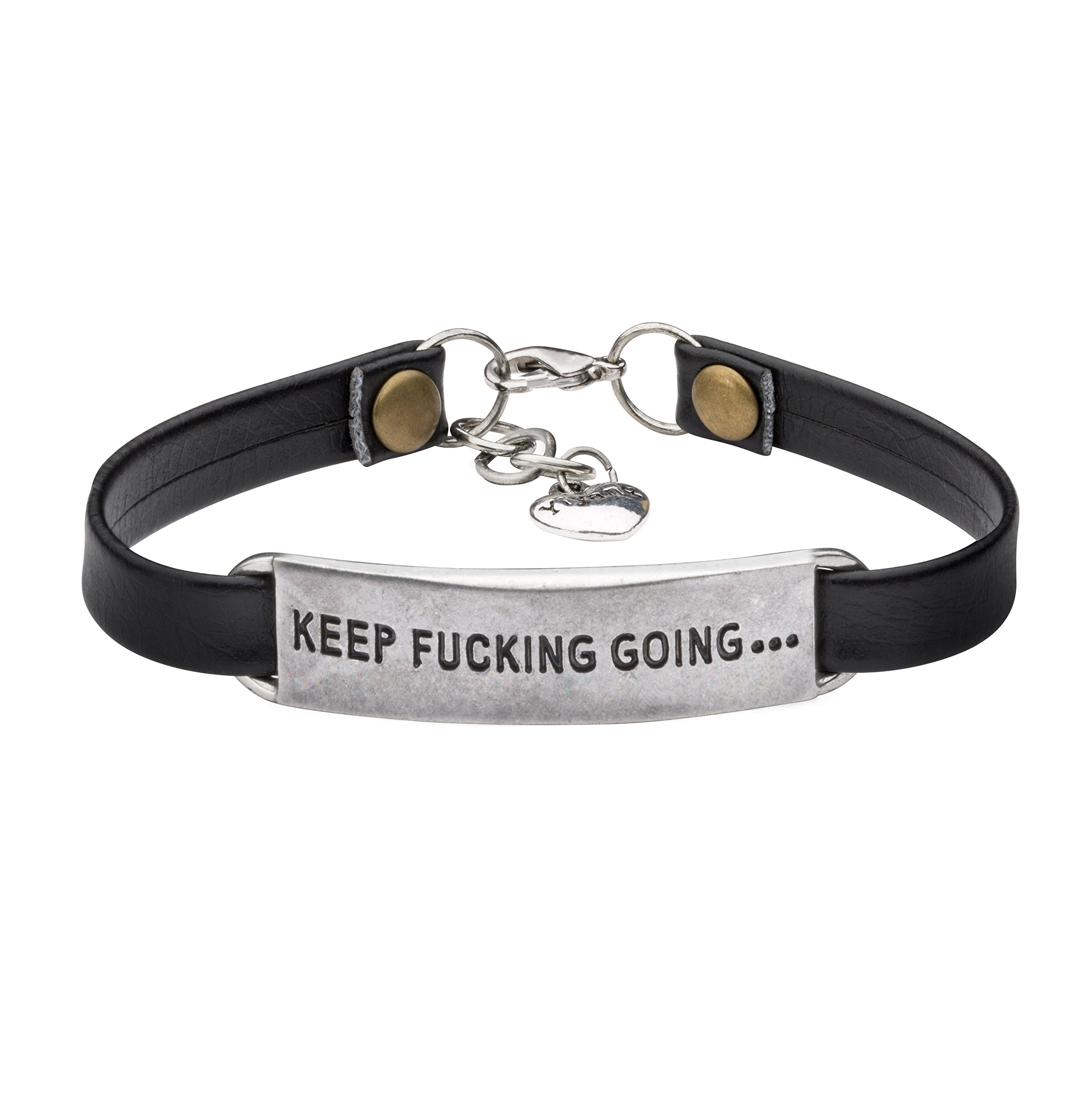 UNQJRY Inspirational Leather Bracelets for Friends Vintage Jewelry Gift for Girl Women Friendship Bangle Engraved Mantra Keep Fucking Going