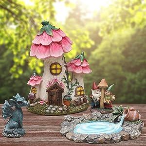 Fairy Garden Decor Gnome House Kit, Sculptures Statues Dragon Elf Figurines Fountain Yard Decor Lawn Ornaments Outdoor Miniature Garden Accessories
