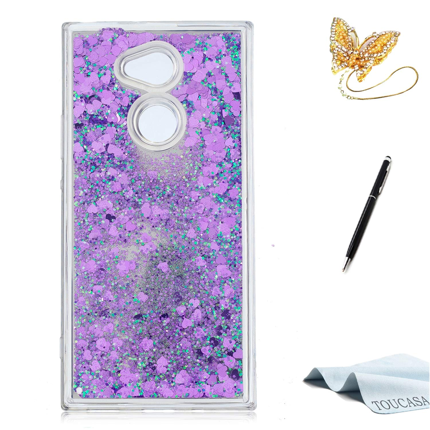 Coque Sony Xperia XA2, Housse Sony Xperia XA2, TOUCASA Anti Choc Silicone Coque, Bling Mince Souple Premium Hybrid Crystal Clear Flex Soft Gel Cover Skin Extra Slim Cristal Clair Gel TPU Neuf Style Brillant Bling Glitter Sparkle Pailletee Silicone Caoutcho