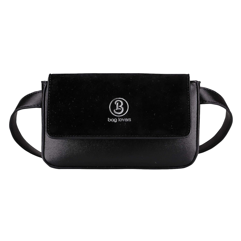 bag lovers Designer Bauchtasche für Damen schwarz - Stylische Gürteltasche & Hüfttasche aus Kunstleder (schwarz, XS - XL)