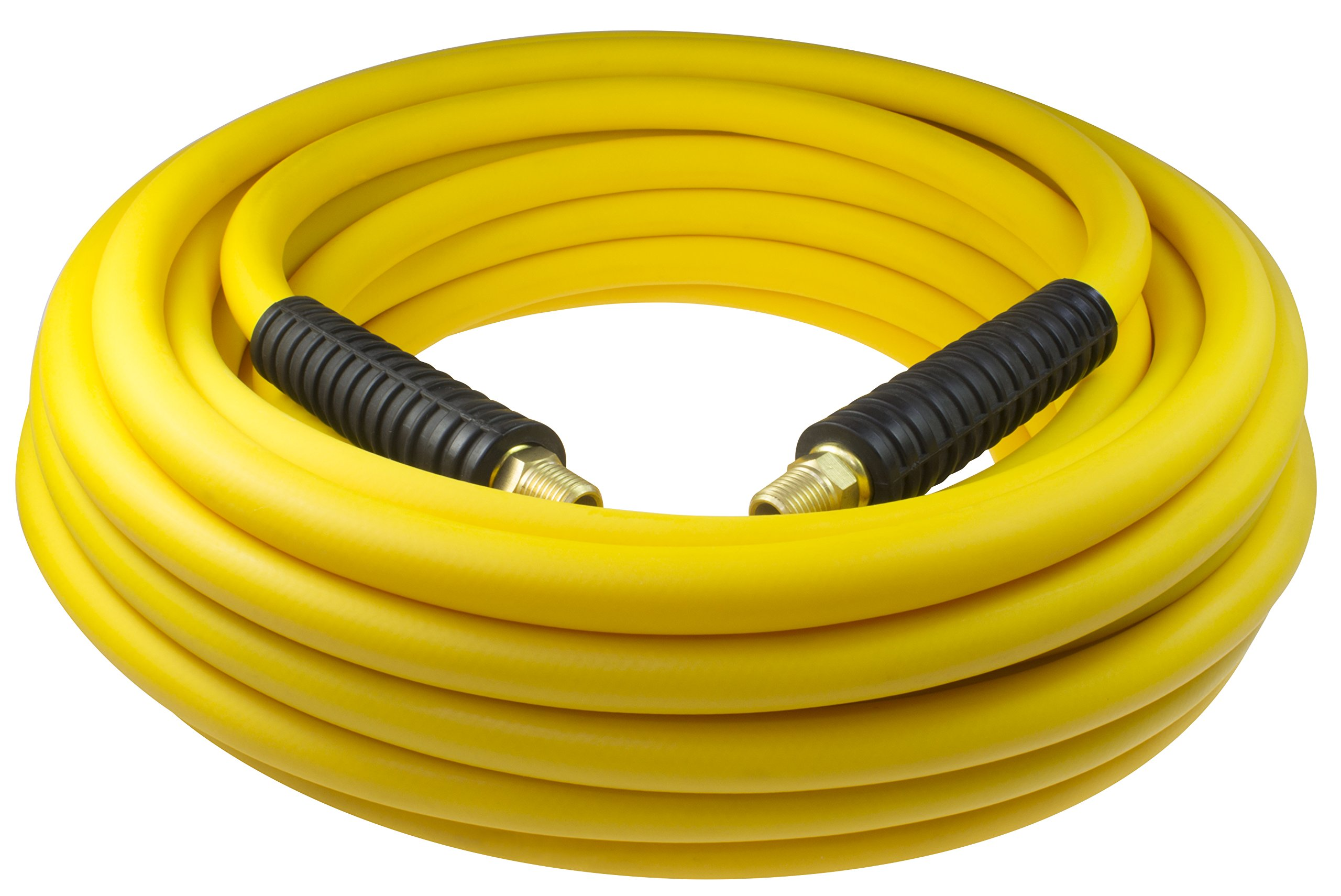Coilhose Pneumatics YB40504Y Hybrid PVC Yellow Belly Hose, 1/4'' MPT Fitting Connection, 300 psi Maximum Pressure, 50' Length, 1/4'' ID