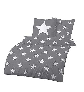 8d374d814fb087 Dobnig Bettwäsche 135x200 Sterne Baumwolle | Bettwäsche Grau mit Sternen |  Winter Bettwäsche Set | Sternen