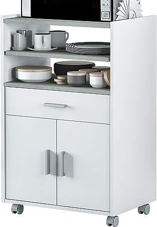 Mueble microondas para cocina, con 1 cajón, 2 puertas y con bandeja extraíble. Armario bufet microon