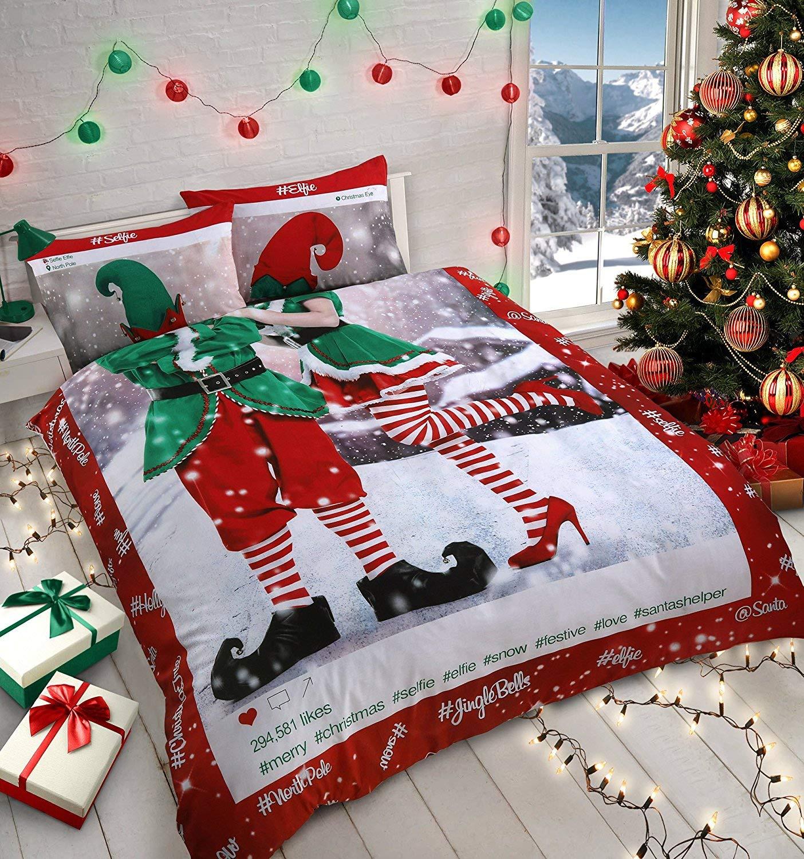 New Insta Selfie Elfie Christmas Fun Bedding Set Duvet Cover Set