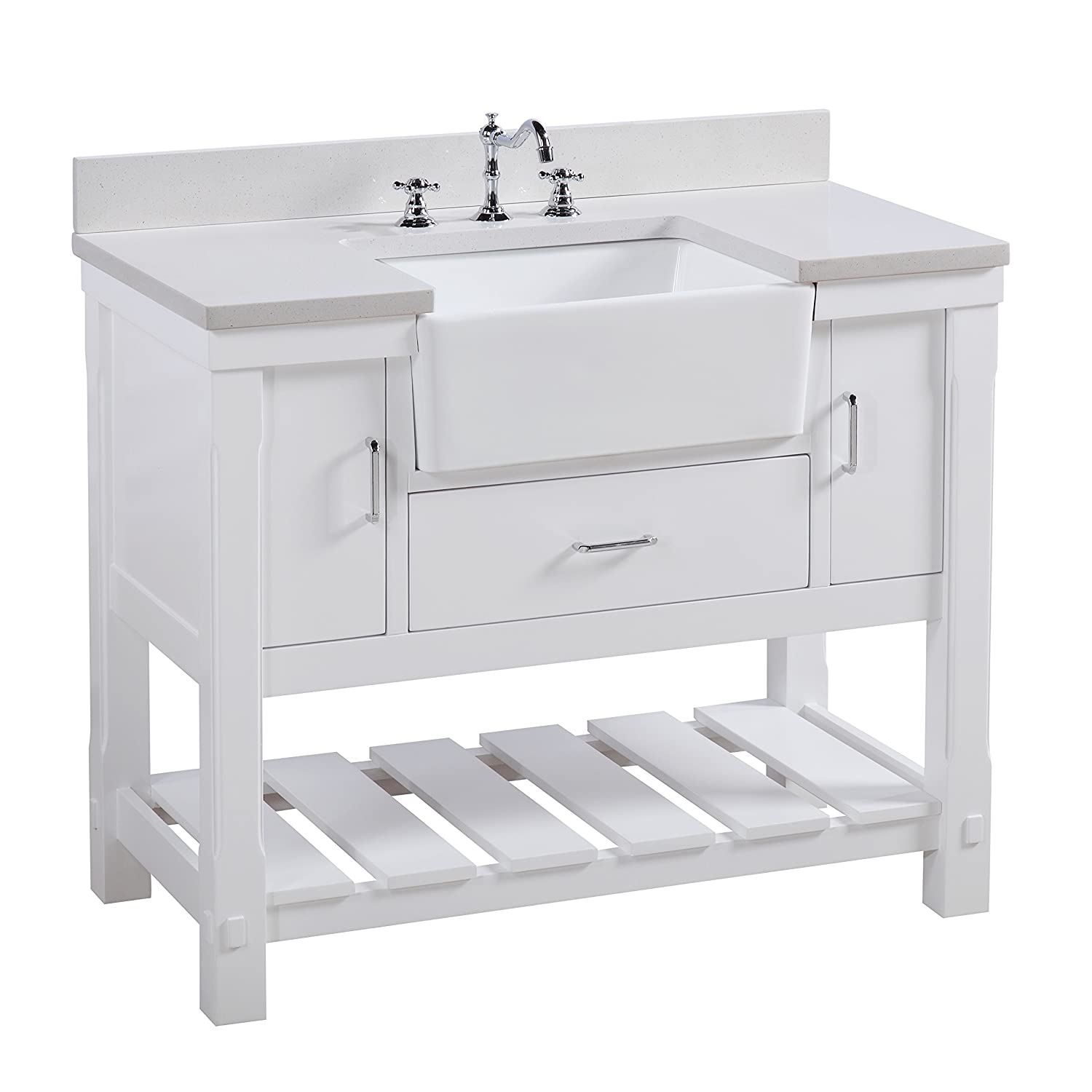 Free Delivery Charlotte 42 Inch Bathroom Vanity Quartz White Includes A White Quartz Countertop White Cabinet With Soft Close Drawers And White Ceramic Farmhouse Apron Sink Brand On Sale Clearance Www Training Rmutt Ac Th
