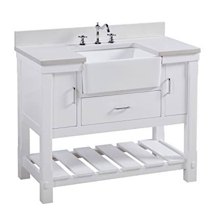 Charlotte 42 Inch Bathroom Vanity Quartzwhite Includes A White