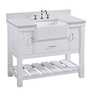 Charlotte 42 Inch Bathroom Vanity Quartzwhite Includes A White