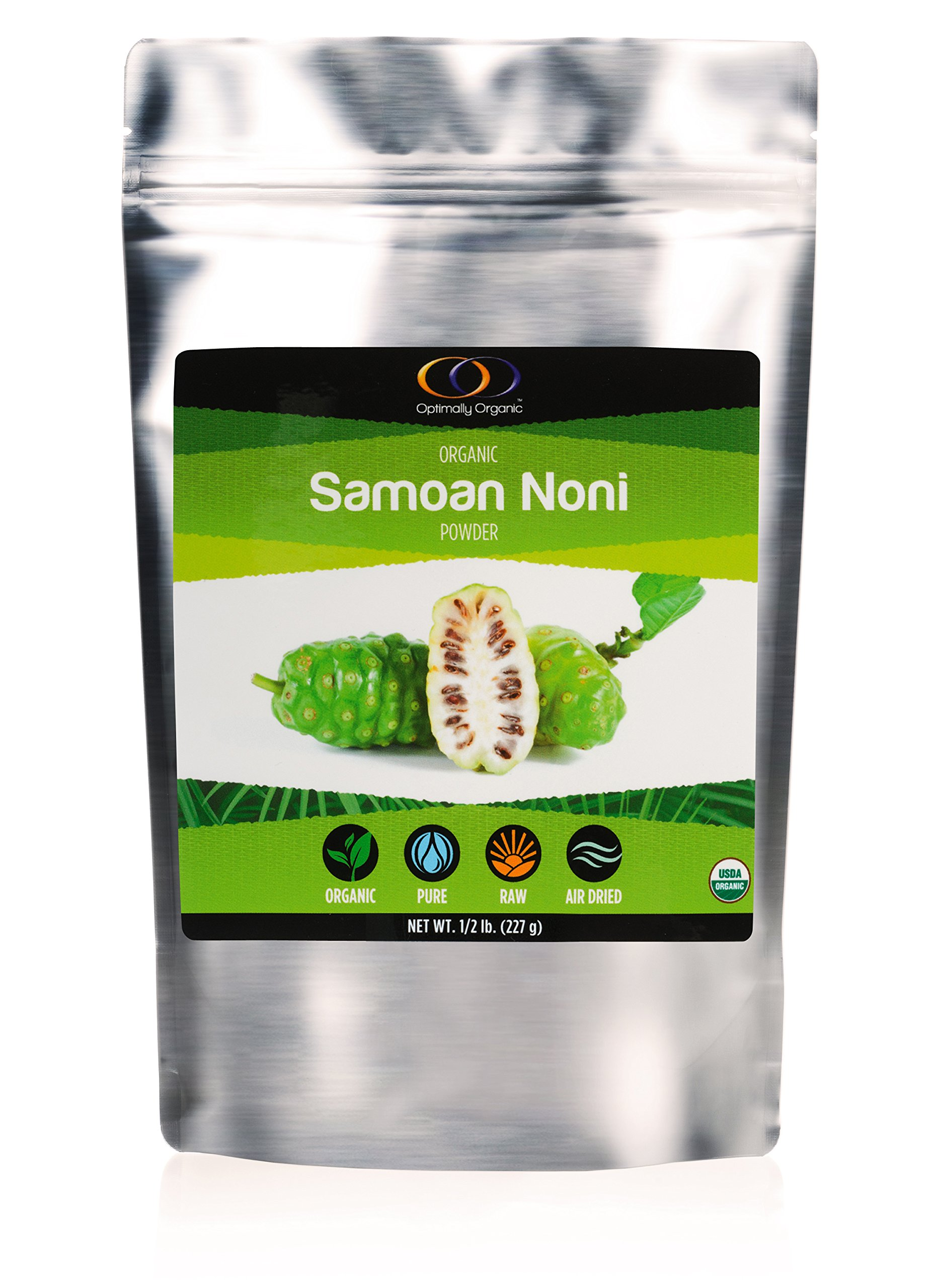 Optimally Organic Raw Samoan Whole Fruit Noni Powder - Powerful Source of Enzymes, Fiber, and Probiotics - Air Dried, 1/2 lb