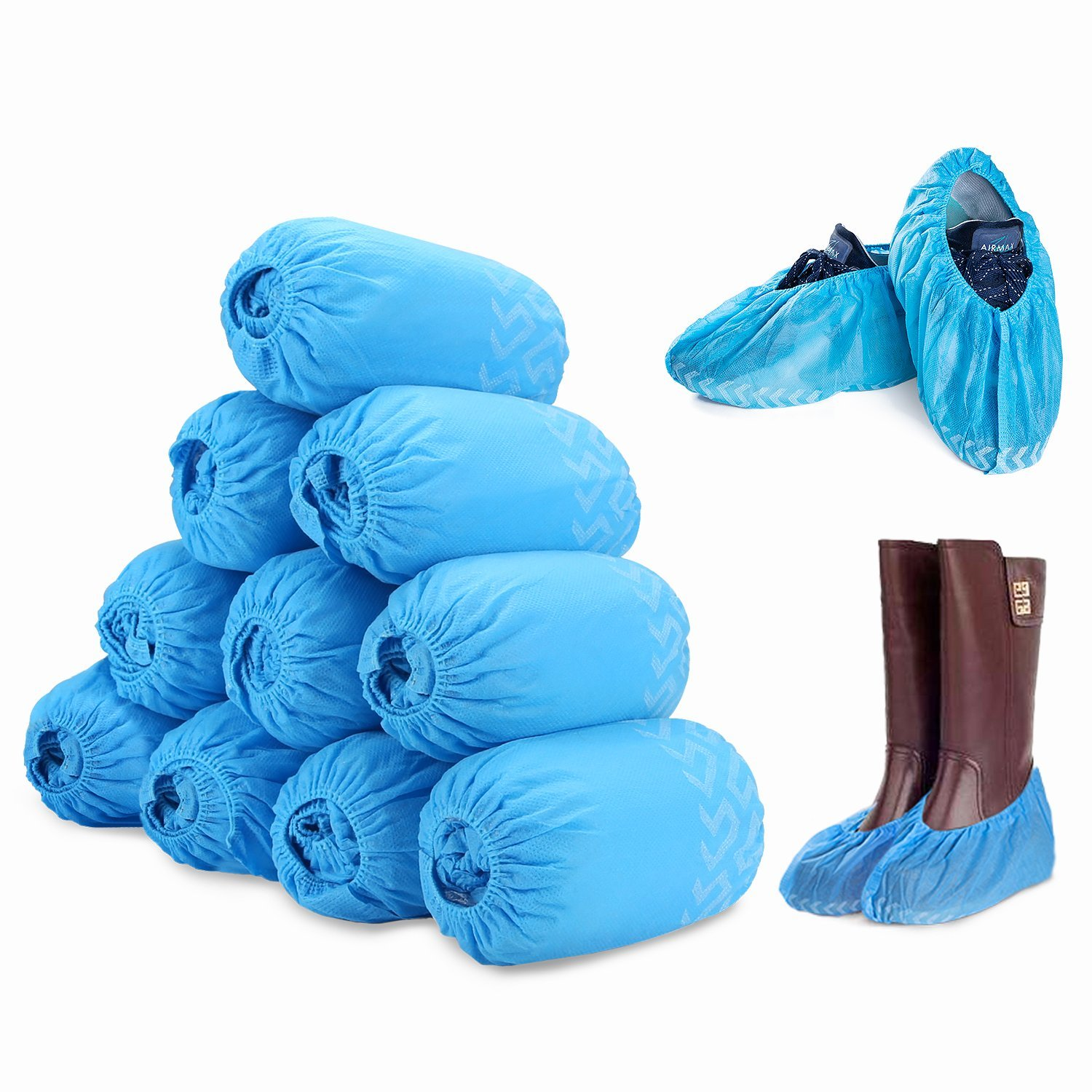 100 Pack Disposable Boot & Shoe Covers, Non-slip with Tread Pattern, Durable & Water Resistant, Perfect for Medical Use, Lab, Factory & Indoor Carpet Floor Protection, Fits Up to Men Size 12