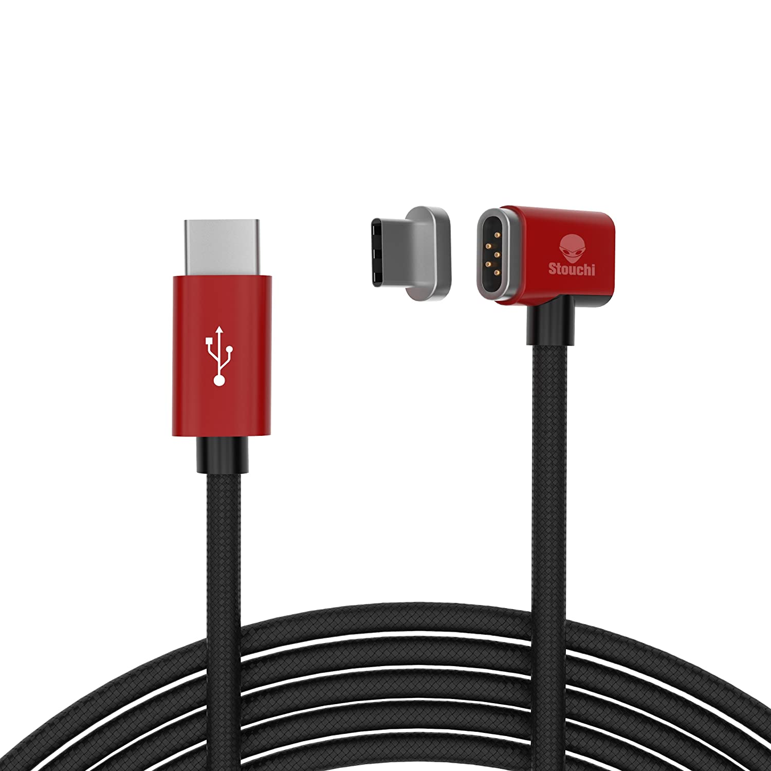 Magnetic USB C Cable for MacBook Pro, Stouchi Replacement MacSafe Magnetic USB C to USB C Charging Cable for MacBook Pro 15' 13' 12' with 4.3 A Fast Charging, Compatible Other USB-C Devices (5ft) Red COSCOD E9-1HXM-PXSO