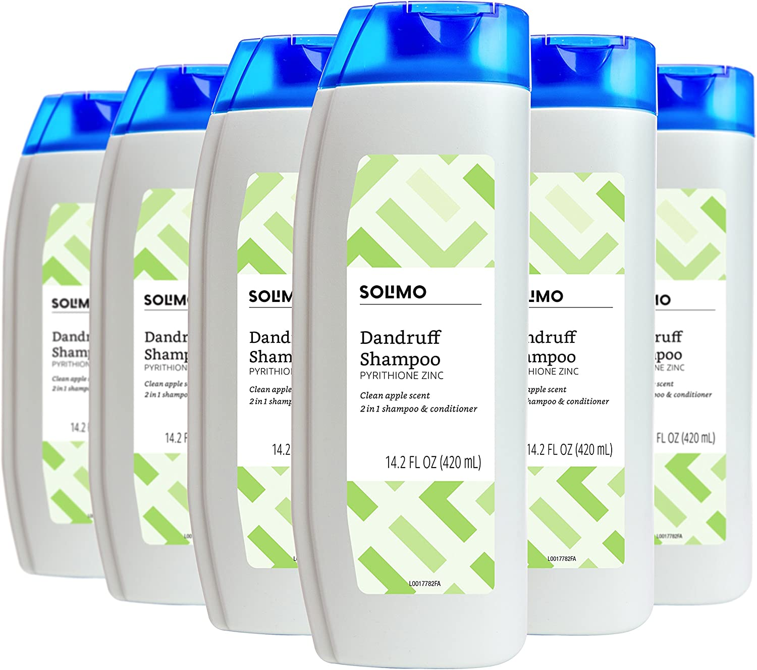 Amazon Brand - Solimo 2-in-1 Dandruff Shampoo and Conditioner, Clean Apple Scent, 14.2 Fluid Ounce (Pack of 6)