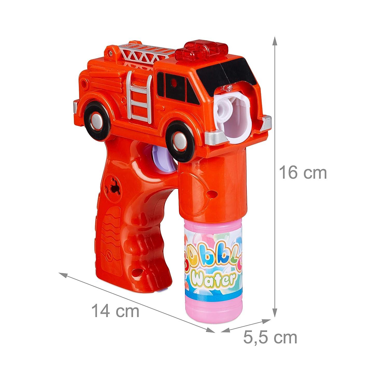 Relaxdays Pistola Pompas Camión de Bomberos con LED, Plástico, Rojo, 16 x 5,5 x 14 cm, Color (10024935)