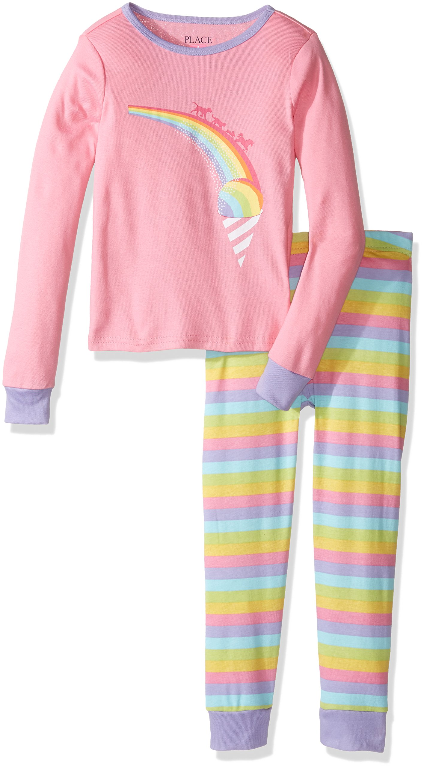 The Children's Place Little Girls' Long Sleeve Top and Pants Pajama Set, Rainbow Pink 65448, 5