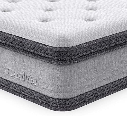 """10/"""" Mattress Soft Foam Layer Quilted Knit Pillow Top Individual Tempered Springs"""