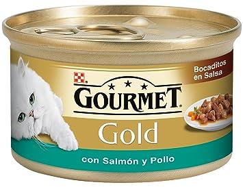 Purina Gourmet Gold Bocaditos en Salsa Comida para Gatos con Salmon y Pollo 24 x 85 g: Amazon.es: Amazon Pantry