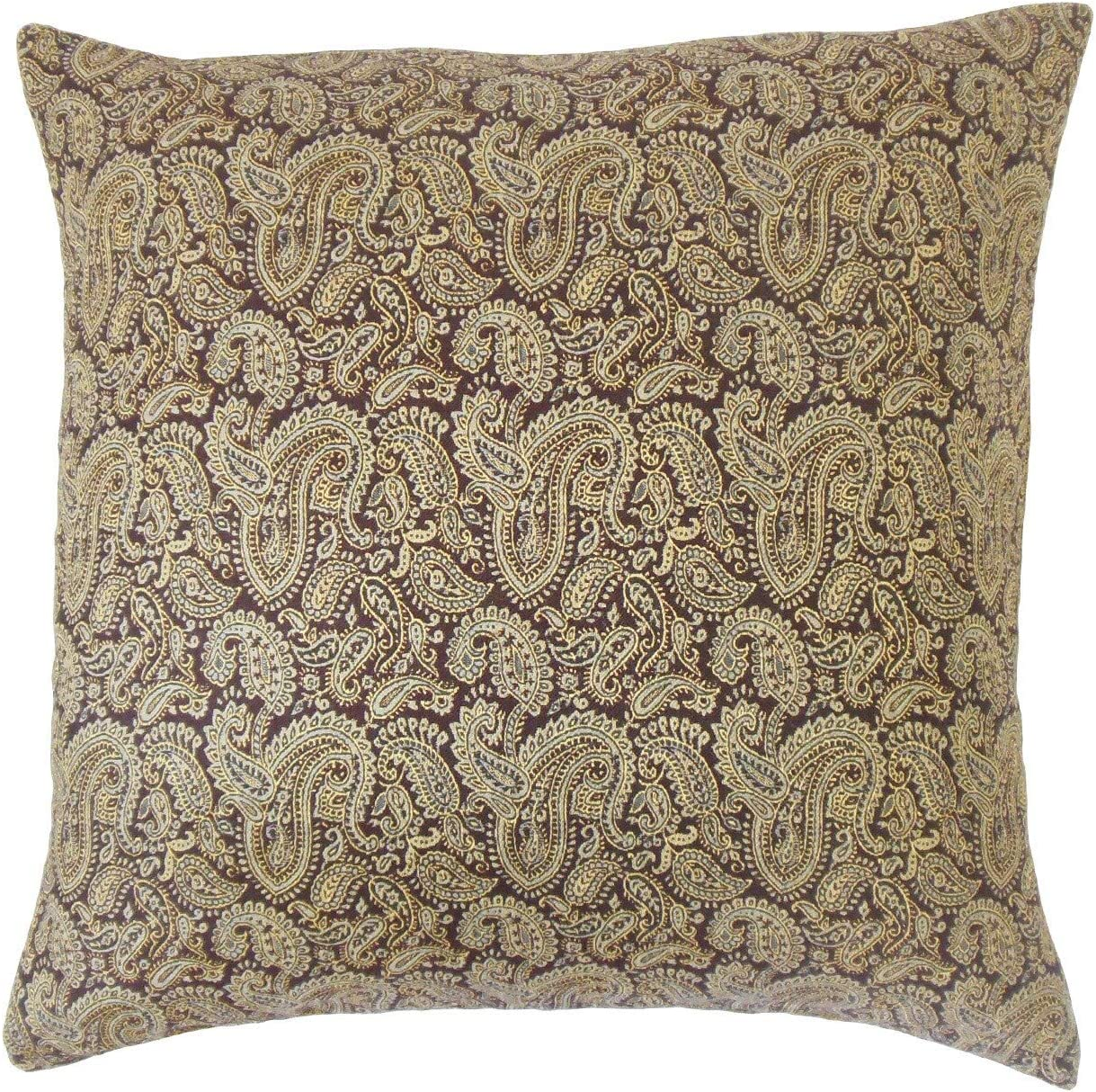 The Pillow Collection Laraib Paisley Brown Down Filled Throw Pillow Home Kitchen