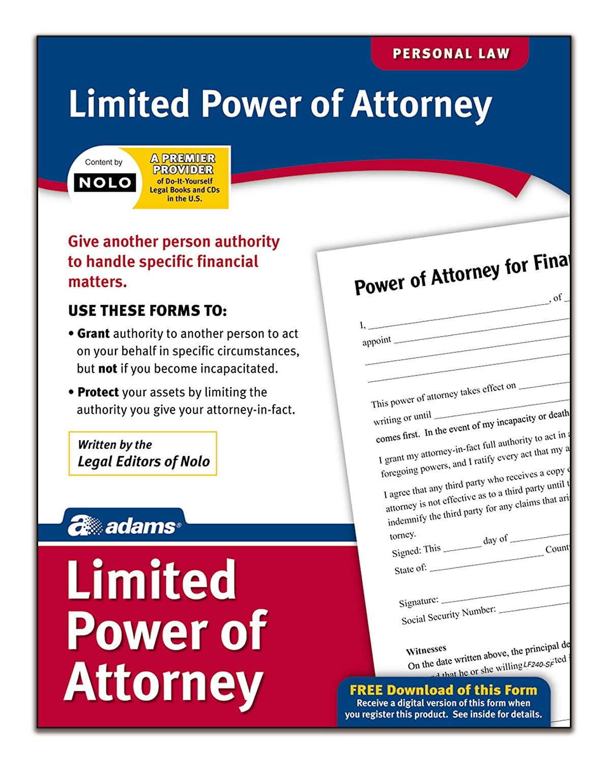 Amazon adams limited power of attorney forms and amazon adams limited power of attorney forms and instructions lf240 legal forms office products falaconquin