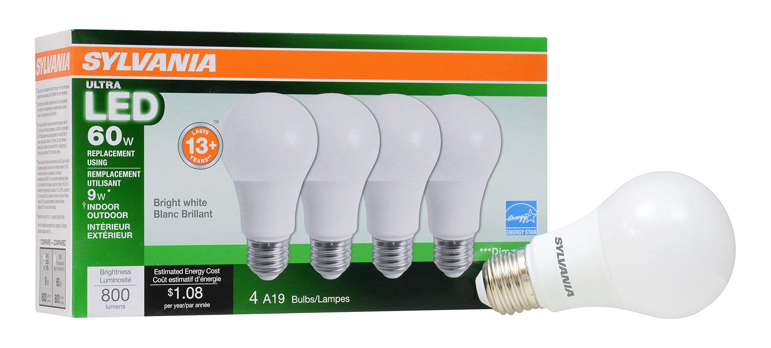 Sylvania Home Lighting 78038 A19 Sylvania Ultra 60W Equivalent LED ...