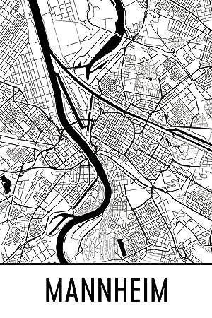 Modern Map Art Mannheim Print Mannheim Kunst Mannheim Karte
