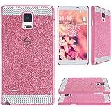 Asnlove Kristall Schutzhülle für Samsung Galaxy Note 4 N9100 Bling Hart Hülle Case Schutz Etui Schale Cover Tasche Glitter Rückseite(Rosa)